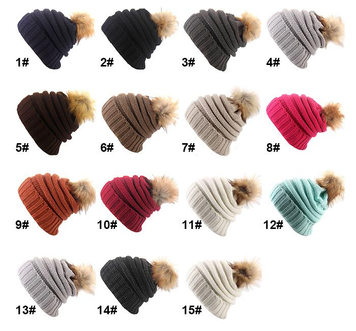 f2f4b0bf8 Winter Knitted Wool Cap with Ball Top for Mom and Girls Winter ...
