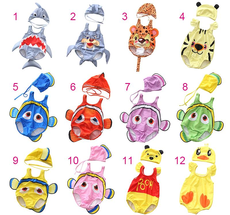 Baby Cartoon Swimsuit 24 Designs Girls Boy Two-pieces Swimwear Animals Fruits Printing Swimsuit Shark Bear Strawberry Beach Cloth 0-3T