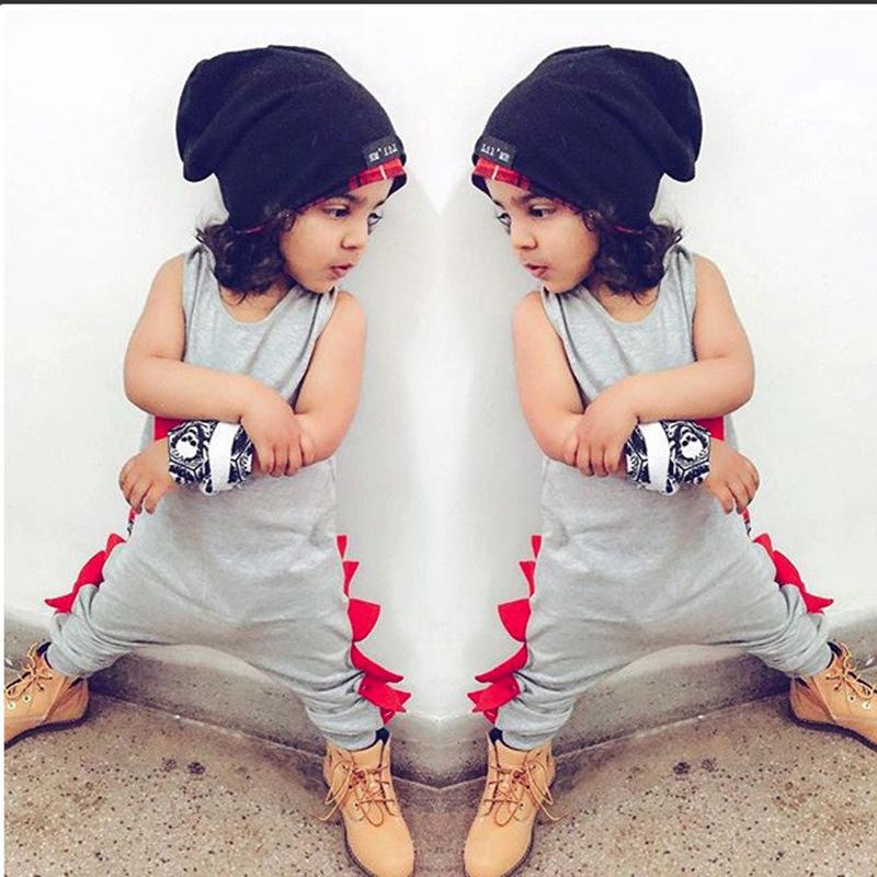 b0b4c3ef0 Baby Dinosaur Jumpsuit Sleeveless Hip-hop Rompers Cotton Dinosaur ...