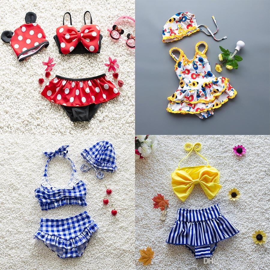 7 Design Baby Girls Swimsuits Two-piece One-piece Cap Dots Bow Plaid Striped Cartoon Watermelon Strawberry Two Layers Cake Lace Dress Bikini