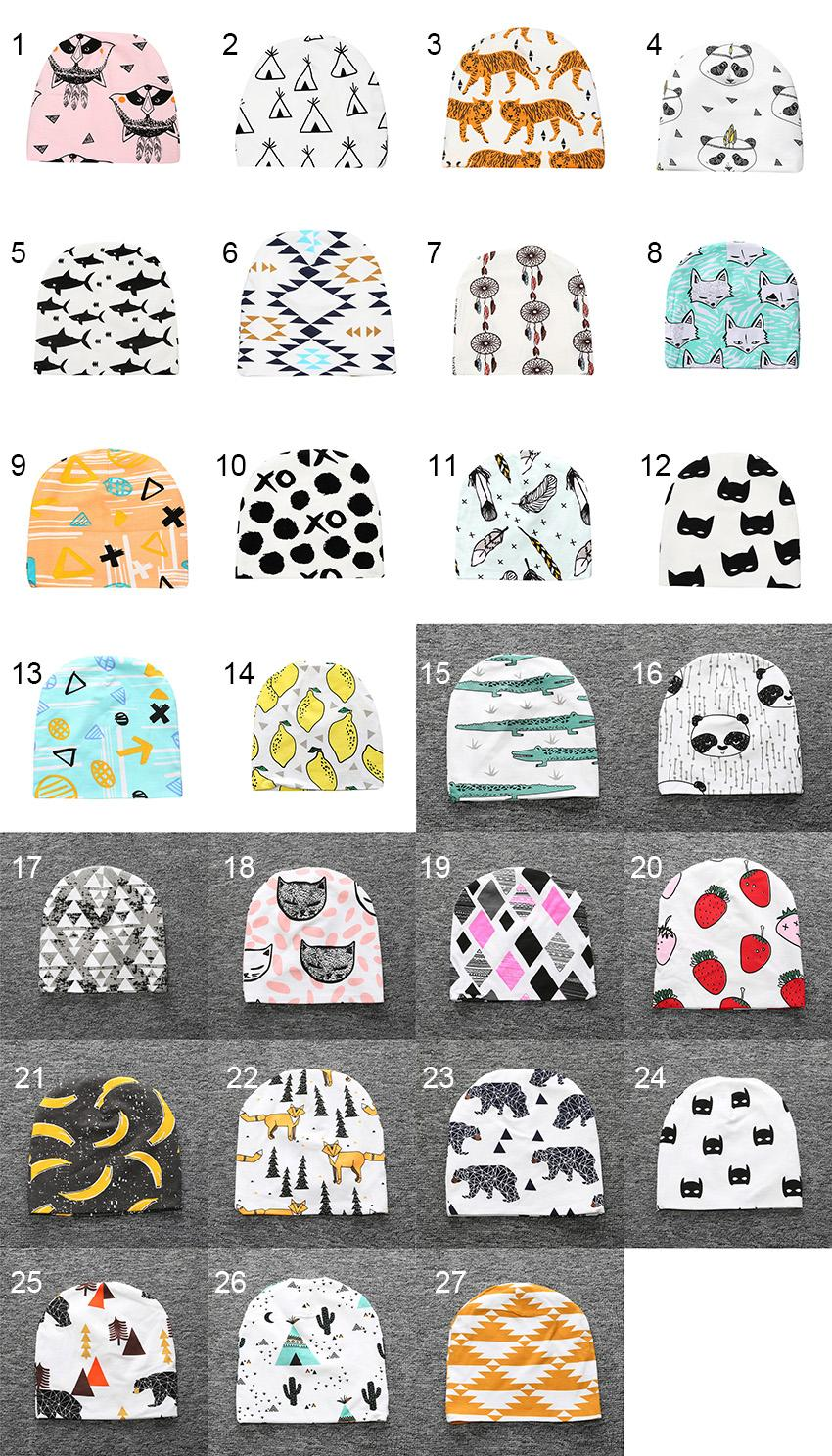 Kids Caps Children's Hats 27 Designs Spring Autumn Fitted Hat Cartoon Printed Hats Cotton Sombreros Chapeau for Boy Girl 0-3T